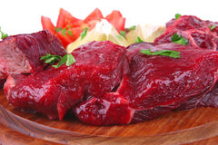 Uncooked small beef chunks Royalty Free Stock Photo