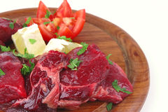 Uncooked small beef chunks Stock Photography