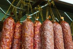 Uncooked smoked sausage Stock Photos