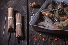 Uncooked Soba noodles and shrimps Royalty Free Stock Image