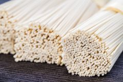 Uncooked Somen noodels. Dry, uncooked japanese somen noodles royalty free stock images