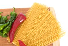Uncooked spaghetti. Bolognaise with capsicums Stock Photo