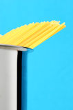 Uncooked spaghetti noodles. Italian pasta Royalty Free Stock Image