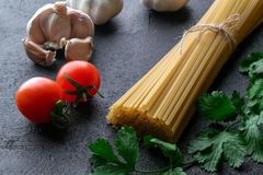 Uncooked spaghetti pasta stock photography