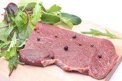 Uncooked steak with salad Stock Image
