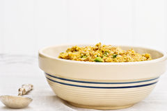 Uncooked Stuffing. A bowl of uncooked stuffing ready for the turkey Stock Photos