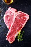 Uncooked t-bone or porterhouse steak Royalty Free Stock Photos