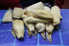 Uncooked Traditional Tamales. Tamales stuffed and ready to be steamed Stock Photo