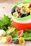 Uncooked tricolor pasta in bowl Stock Images