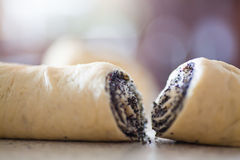 Uncooked two rolls with poppy Royalty Free Stock Photography
