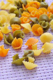 Uncooked vegetables short pasta Stock Image
