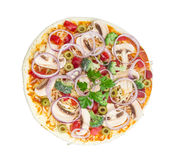 Uncooked vegetarian pizza with vegetables, mushrooms and olives Stock Photos