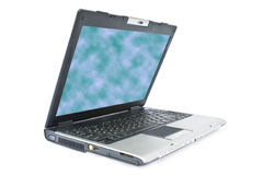 Uncover laptop with color monitor. Isolated uncover laptop with color monitor on a white backround Stock Photo