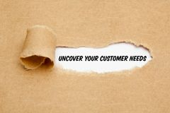 Uncover Your Customer Needs Business Concept. Text Uncover Your Customer Needs appearing behind torn paper. Concept about the importance to understand the royalty free stock photography