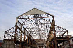 Uncovered Hangar frame. In a sea port Royalty Free Stock Photos