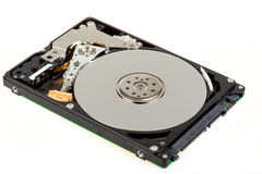 Uncovered 2,5 inch notebook hard drive Royalty Free Stock Photo