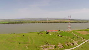 Uncovered ruins of a roman castrum along the Danube, aerial view. Castra Noviodunum stock video