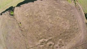 Uncovered ruins of a roman castrum along the Danube floodplain,aerial view. Castra Salsovia stock video footage
