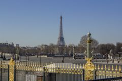 Uncrowded morning in paris. View of the eiffel tower stock photography