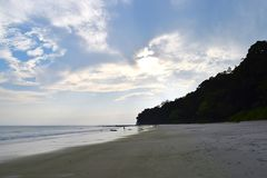 Uncrowded and Pristine White Sandy Beach on a pleasant Evening - Radhanagar, Havelock Island, Andaman Nicobar Islands, India. This is a photograph of an royalty free stock image