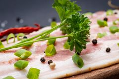 Uncured Apple Smoked Bacon garnished with Green Scallions, dried Red Chile Pepper, Garlic and Rainbow  Peppercorns. On natural wooden cutting board stock images
