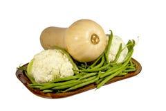 Uncut Cauliflower, Green Beans and Butternut Squash Royalty Free Stock Photos