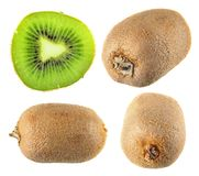Uncut kiwifruits and slice isolated on white background. Uncut ripe kiwifruits and slice isolated on white background Stock Photo