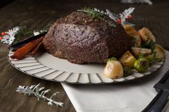 Uncut Roast Beef With Yorkshire Puddings royalty free stock image