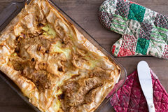Uncut Turkish borek fresh from the oven Stock Photography