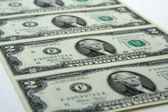 Uncut two dollar bills Stock Image