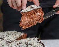 Uncutting tort z nożem fotografia royalty free