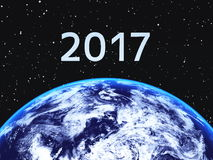 2017 und die Erde Stockfoto