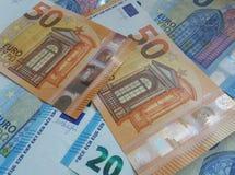 50 und 20 Euroanmerkungen, Europäische Gemeinschaft Stockbilder