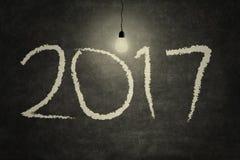 2017 und Glühlampe Lizenzfreie Stockbilder