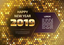 2019 und guten Rutsch ins Neue Jahr-Fahne in den Goldschatten lizenzfreie stockfotos