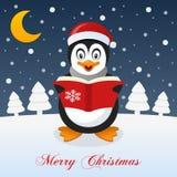 Und so ist dieses Weihnachten - glücklicher Pinguin Lizenzfreies Stockbild