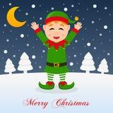 Und so ist dieses Weihnachten - nette grüne Elfe Lizenzfreies Stockfoto