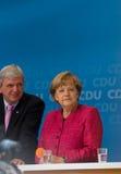 Und Volker Bouffier d'Angela Merkel Photo libre de droits