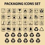 Und von den Verpackungsikonen, Verpackungsfrachtaufkleber, Lieferungsdienstbezeichnungen Stockbild