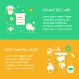 Und von zwei Fliegern für Honigbauernhof Honig ernten und erfassend Moderne lineare Art in den hellen attraktiven Farben Stockbilder
