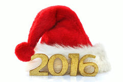 2016 und Weihnachtshut Lizenzfreies Stockfoto