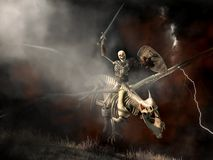 Undead Dragon and Skeleton Rider. In a fantasy scene, emerging from the smoke over the battlefield, a skeleton warrior, with sword and shield raised, rides upon vector illustration