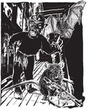 Undead levande död och tjaller - vektorn som skissar freehand stock illustrationer