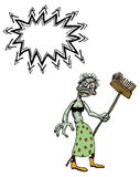 Undead monster lady cleaning-100. Cartoon image of undead monster lady cleaning. An artistic freehand picture Stock Photography
