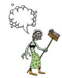 Undead monster lady cleaning-100. Cartoon image of undead monster lady cleaning. An artistic freehand picture. With speech bubble Royalty Free Stock Photo