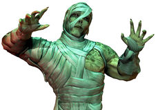 Undead mummy in the green neon light. 3D Rendering Undead mummy in the green neon light Royalty Free Stock Images