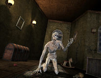 Undead in an old room. 3D Rendering - Undead in an old room stock illustration