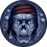 Undead Pirate. An undead blueish colored pirate underwater royalty free illustration