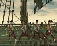 Undead pirates. On a ship Royalty Free Stock Photos