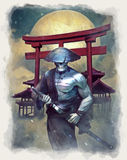 Undead Samurai. Watercolor painting of a samurai ghost Stock Image